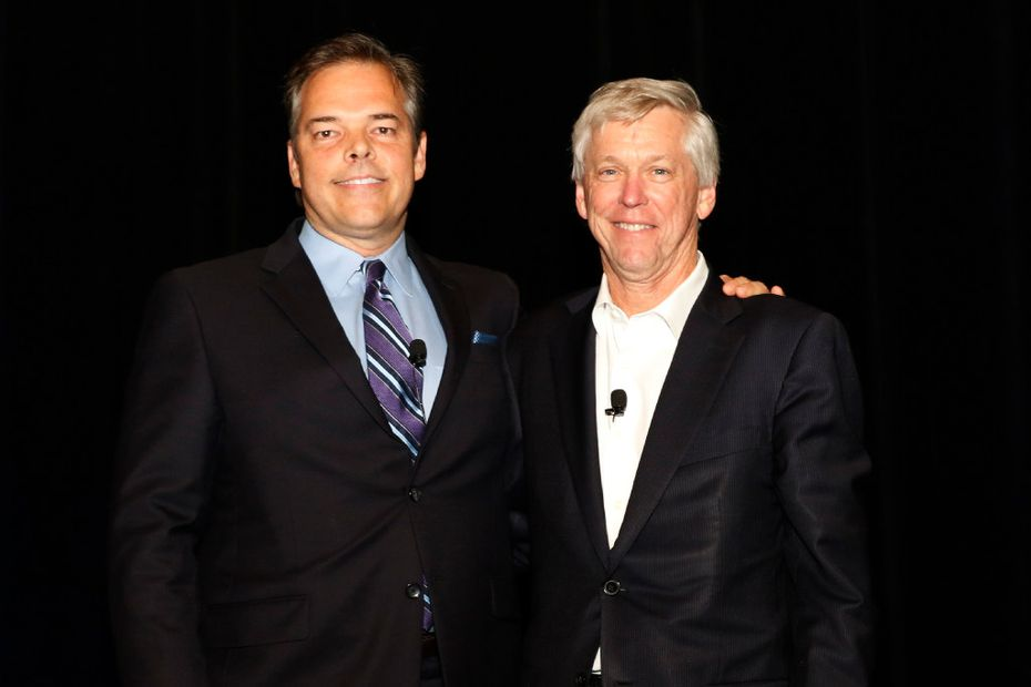 Jim Moroney, right, publisher and CEO of the Dallas Morning News, and Richard Jones, chairman of The Dallas Morning News Charities board