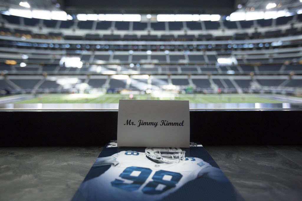 Jimmy Kimmel's place card awaits him in the owner's suite at AT&T Stadium for Saturday's Dallas Cowboys game against the New York Jets in Arlington, Texas, Dec. 18, 2015. The offer to watch the Dallas Cowboys play from owner Jerry Jones' suite draws many celebrities.