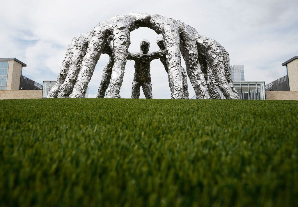 """""""Huddle,"""" by artist Tom Friedman at The Star in Frisco on Monday, August 28, 2017. (Vernon Bryant/The Dallas Morning News"""
