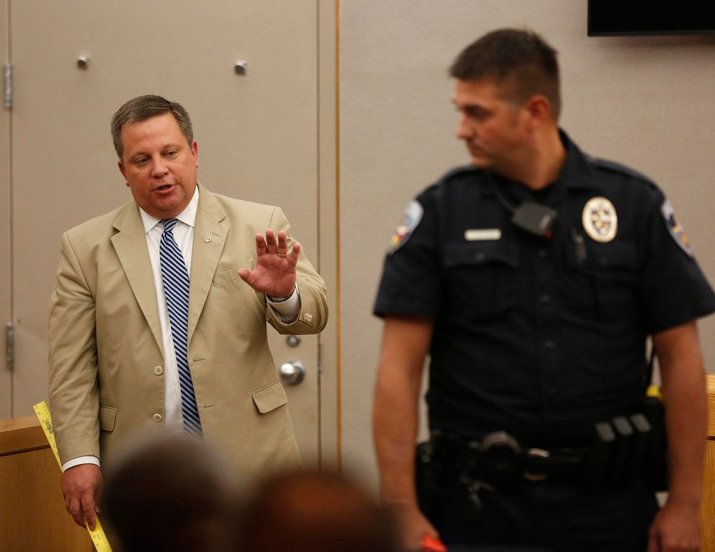 Defense attorney Miles Brissette questioned Balch Springs police Officer Tyler Gross on Thursday.