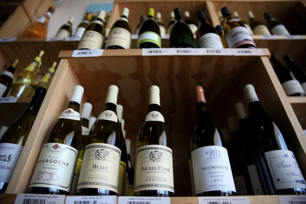 White wine at Le Caveau Vinotheque wine shop