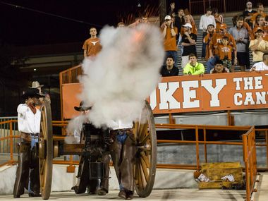The Texas Cowboys, an elite student organization at the University of Texas, are in charge of firing Smokey the Cannon during home football games.