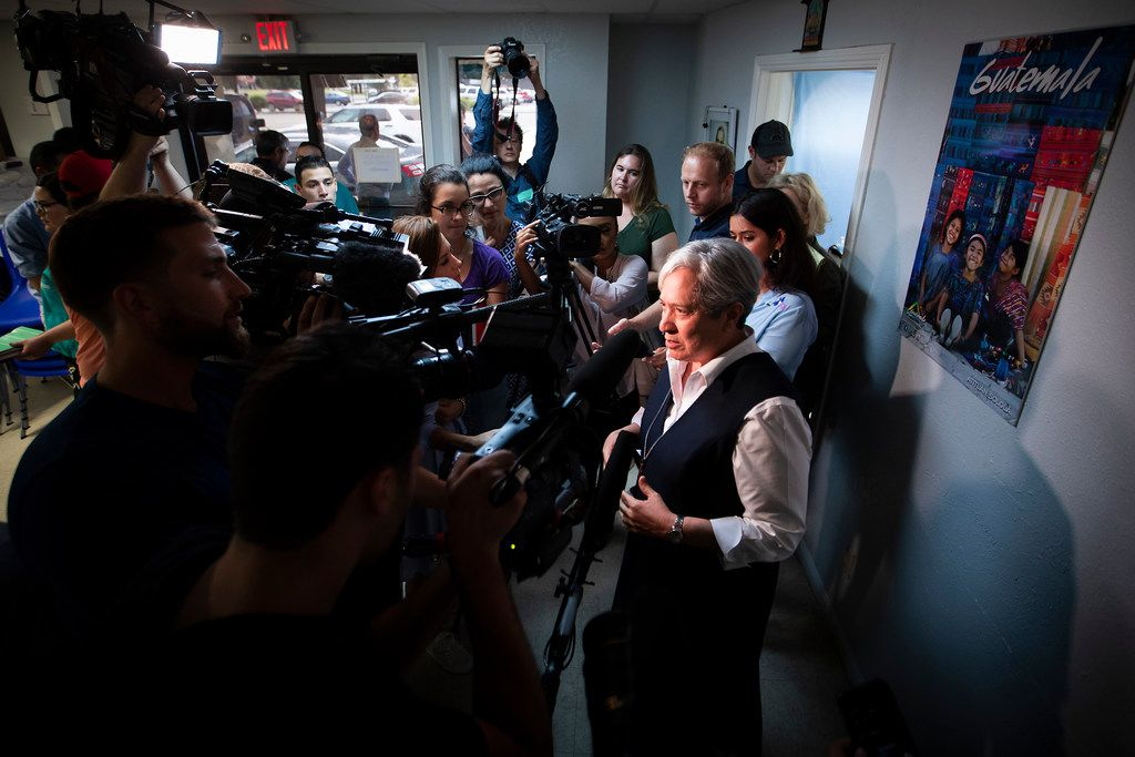 Sister Norma Pimentel addresses a crowd of media at the Catholic Charities RGV Humanitarian Respite Center on Tuesday, June 19, 2018, in McAllen.