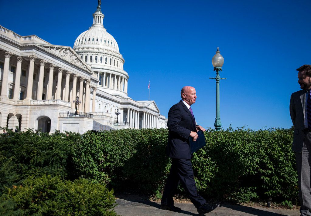 Rep. Kevin Brady (R-Texas), chairman of the House Ways and Means committee, heads to a news conference on tax policy, on Capitol Hill in Washington, Sept. 28, 2017. One day before Republicans were to unveil a long-awaited tax plan on Nov. 1, many key details remain in flux, and lawmakers are still struggling with how to make the math work.