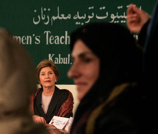 U.S. first lady Laura Bush meets with teachers at the teacher training institute at Kabul University in Kabul, Afghanistan, Wednesday, March 30, 2005.
