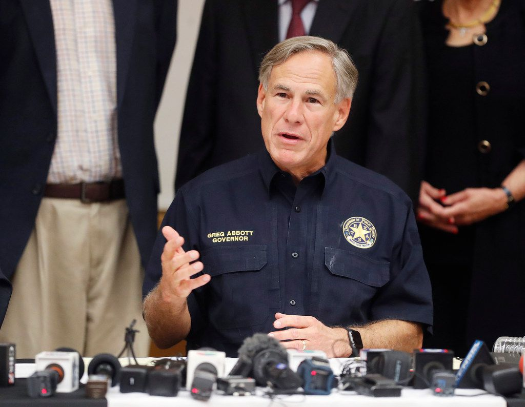 Texas Gov. Greg Abbott talks a mass shooting in Odessa during a news conference Sunday, Sept. 1, 2019, in Odessa, Texas. On Thursday, Sept. 5, 2019, he issued eight executive orders with the aim of helping to prevent further gun violence.