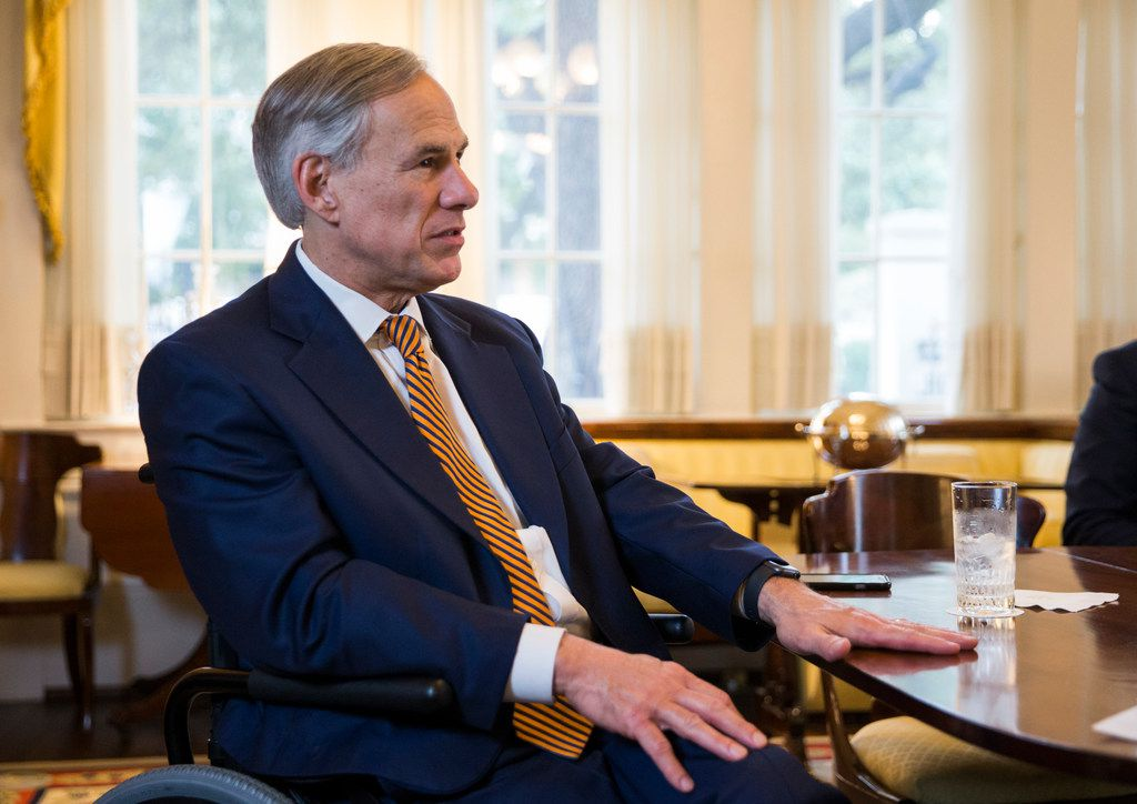 Gov. Greg Abbott, shown during an interview at the Governor's mansion last week, has property taxes and school finance on his mind as he starts a second four-year term Tuesday. (Ashley Landis/The Dallas Morning News)