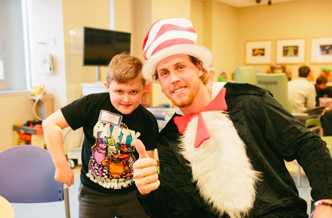 Dallas Stars players dressed up in costume to bring cheer to patients at Children's Medical Center Dallas.