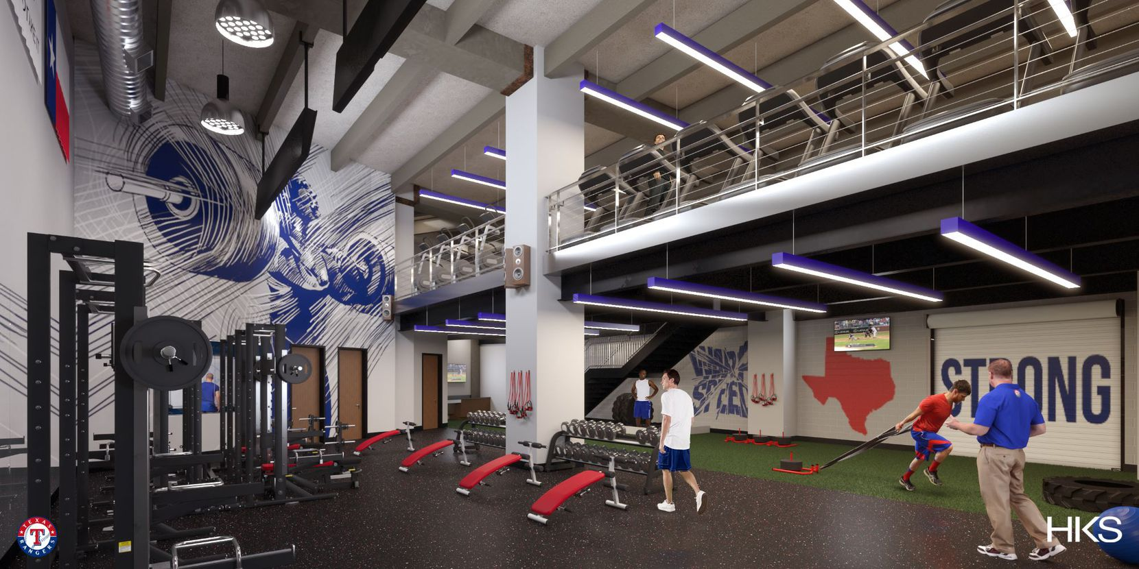 A rendering of the Rangers' weight room in the Globe Life Field clubhouse.