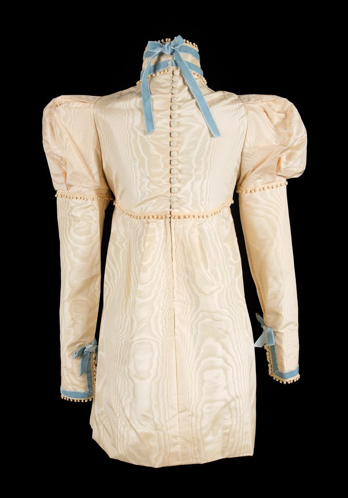 An  ivory  silk  moire minidress  worn  by  Sharon  Tate  at  her  London  wedding  to  Roman  Polanski  in  1968. The dress is being sold at an upcoming auction, where it figures to bring between $25,000 and $50,000.