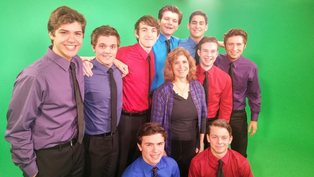 Nancy Churnin with the nine DSM High School Musical Award nominees for Best Actor.