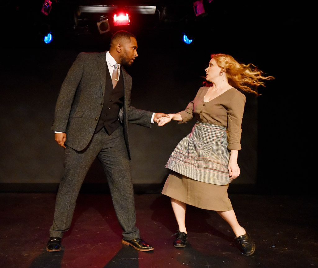 Jamall Houston (Narrator) and Lauren LeBlanc (Mrs. Johnstone) in Blood Brothers, presented by Imprint Theatreworks'  at the Bath House Cultural Center.