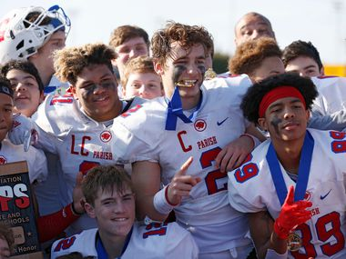 Parish Episcopal's Preston Stone (2) and teammates celebrate their victory over Plano John Paul II after winning 42-14 in the TAPPS Division I State Championship game at Waco Midway's Panther Stadium in Hewitt, Texas on Friday, December 6, 2019. (Vernon Bryant/The Dallas Morning News)