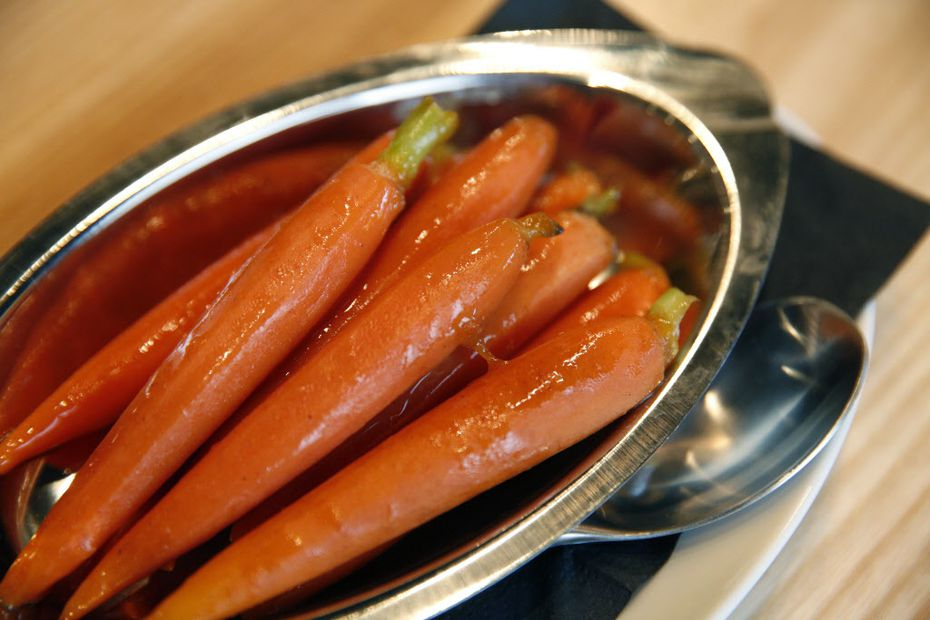 Carrots with cinnamon orange glaze are some of several low-priced side items at The Hall Bar & Grill.