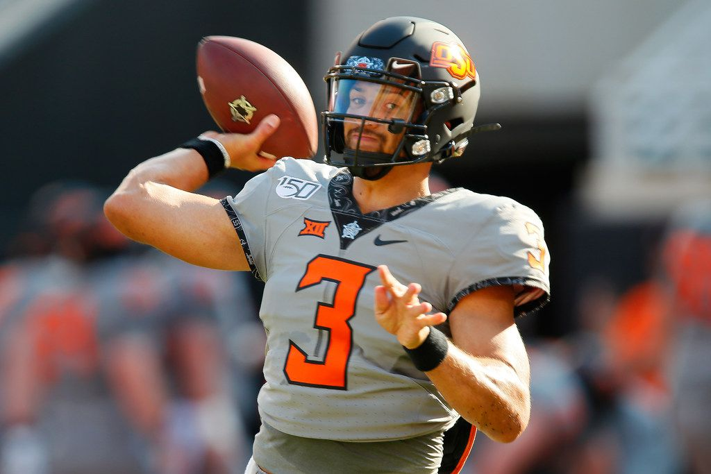 STILLWATER, OK - SEPTEMBER 7:  Quarterback Spencer Sanders #3 of the Oklahoma State Cowboys warms up before a game against the McNeese State Cowboys on September 7, 2019 at Boone Pickens Stadium in Stillwater, Oklahoma. (Photo by Brian Bahr/Getty Images)