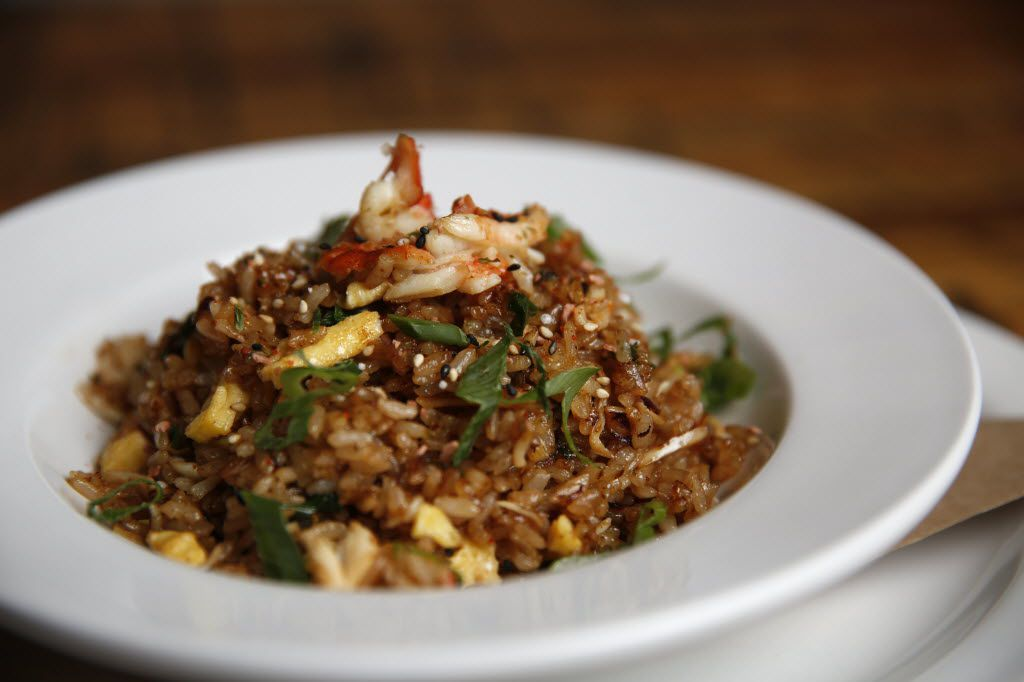 Alaskan king crab fried rice at Montlake Cut, Nick Badovinus' seafood place in Preston Center. A wee bit too reliant on soy sauce perhaps, but very good.