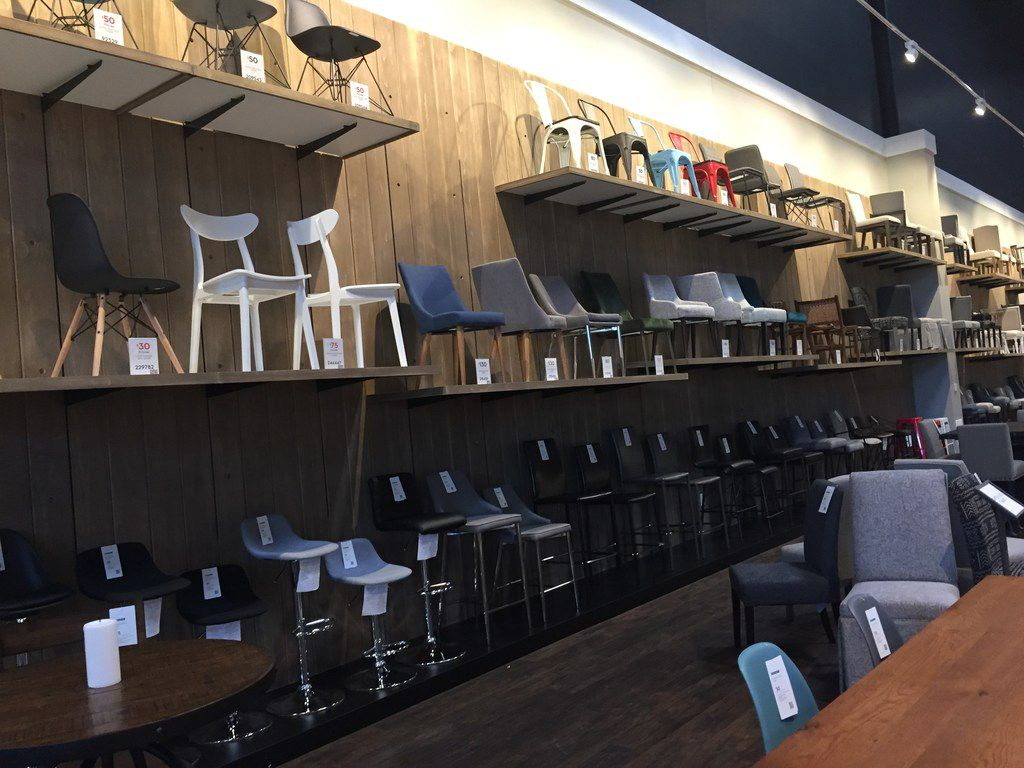 A chair wall in Living Spaces at 1514 Arkansas Lane in Grand Prairie. The 185,000-square-foot store opened Friday, May 17, 2019.