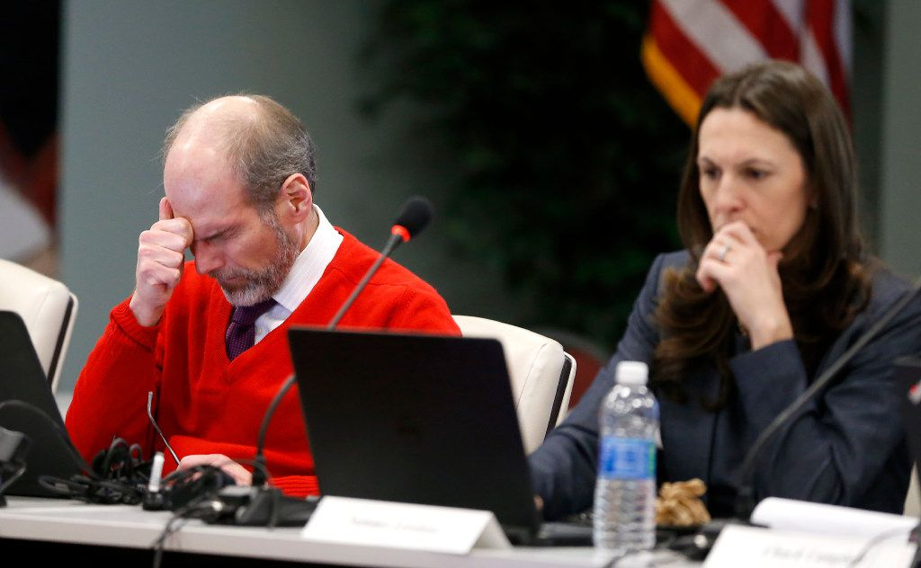 General Counsel Josh Mond (left) and Chief Financial Officer Summer Loveland attend the regular meeting at Dallas Police and Fire Pension System in Dallas, Thursday, Dec. 8, 2016. Members of the Board of Trustees discussed a variety of topics including the possible changes to DROP policy. (Jae S. Lee/The Dallas Morning News)
