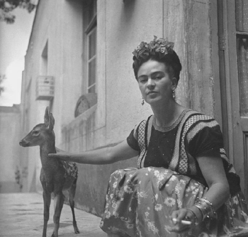 "Frida with Granizo, Nickolas Muray, Courtesy of Throckmorton Fine Art. 1939. Part of ""Mirror, Mirror: Photographs of Frida Kahlo"" at the Museum of Spanish Colonial Art in Santa Fe, N.M. SFSUMMER"