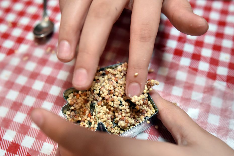 Stella Suek, 9, presses birdseed and mixed ingredients into a cooking cutter.