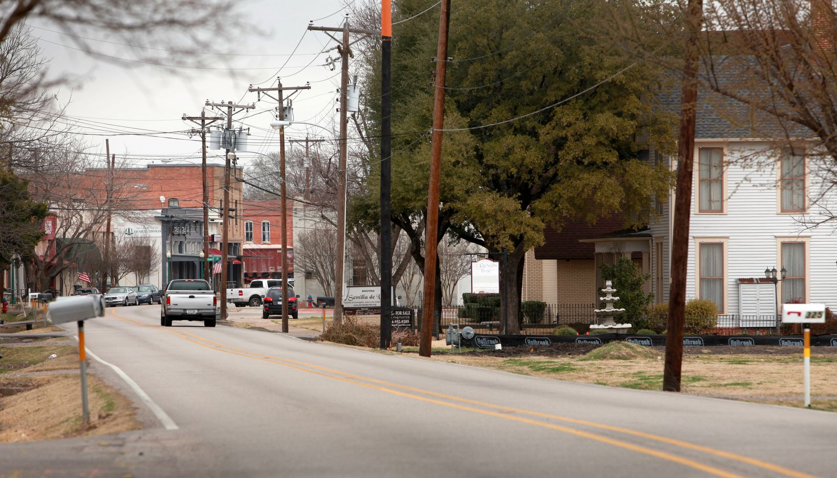 South Bois D'Arc Street in Forney, Texas looking north toward downtown in February, 2011.