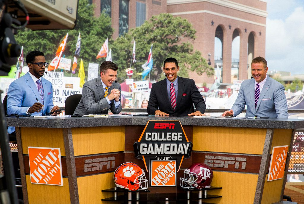 The ESPN College GameDay crew laughs during a broadcast before the Texas A&M Aggies took on the Clemson Tigers on Saturday, September 8, 2018 outside Kyle Field in College Station, Texas. (Ashley Landis/The Dallas Morning News)
