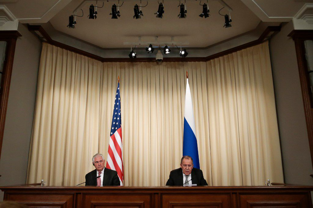 Russian Foreign Minister Sergey Lavrov, right, and US Secretary of State Rex Tillerson attend a news conference following their talks in Moscow, Russia, Wednesday, April 12, 2017. Amid a fierce dispute over Syria, the United States and Russia agreed Wednesday to work together on an international investigation of a Syrian chemical weapons attack last week. (AP Photo/Ivan Sekretarev)