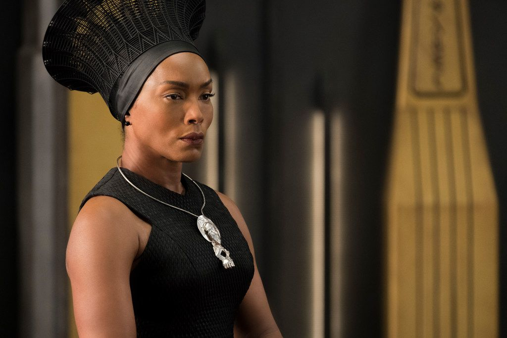 Angela Bassett stars as King T'Challa's mother, Ramonda, in Black Panther.