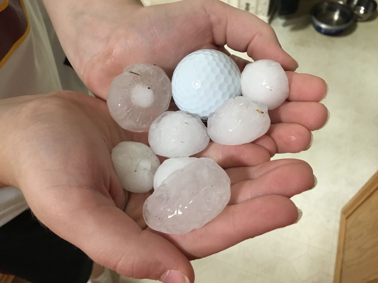 Some of the hail that fell in Frisco was near golf ball-size. (Valerie Wigglesworth/Staff)