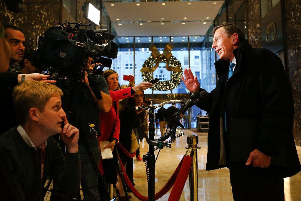 Retired General David Petraeus speaks to members of the media while leaving  Trump Tower in New York City on Nov. 28.  (Spencer Platt/Getty Images)