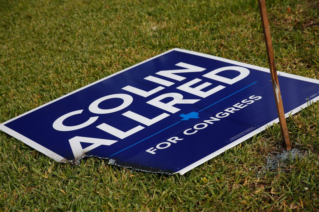 Beto O'Rourke and Colin Allred signs were burned in Richardson in October.