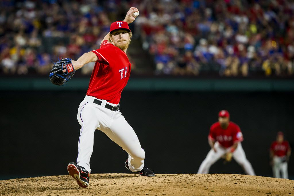Texas Rangers relief pitcher Jake Diekman pitches during the seventh inning against the Pittsburgh Pirates at Globe Life Park on Saturday, May 28, 2016, in Arlington, Texas. (Smiley N. Pool/The Dallas Morning News)