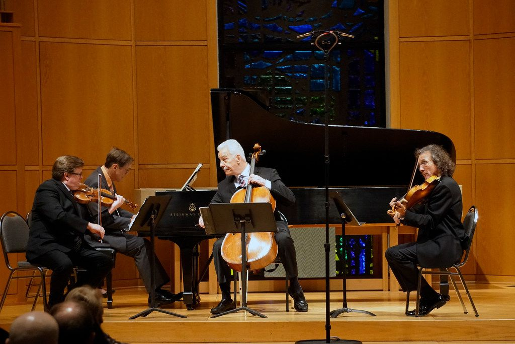 Left to right, violinist Martin Beaver, pianist Gregory Allen, cellist Norman Fischer and violist Paul Coletti perform the Brahms Piano Quartet in A major, Op. 26, in a Chamber Music International Concert at St. Barnabas Presbyterian Church in Richardson on Feb. 16, 2019.