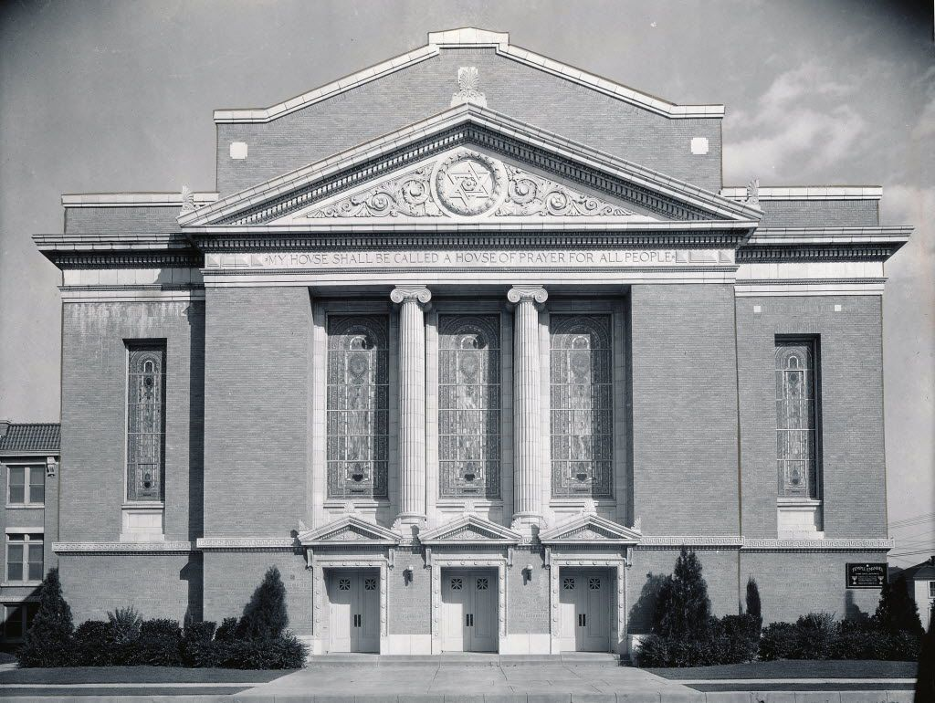The third Temple Emanu-el, a neoclassical creation of the firm of Hubbell and Greene, was constructed in 1917 on South Boulevard at the corner of Harwood Street.  It was leveled in 1972.