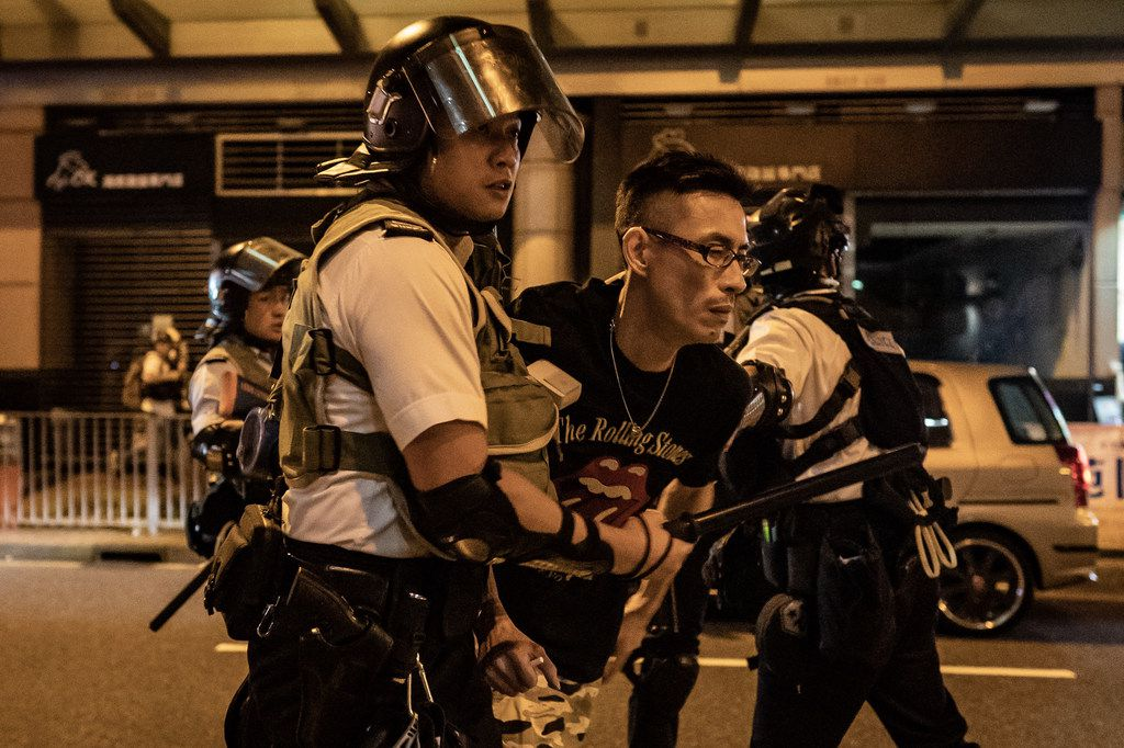 A protester is detained by police outside of Po Lam Station on Sept. 5, 2019 in Hong Kong, China. Pro-democracy protesters have continued demonstrations across Hong Kong since June 9 against a controversial bill which would have allowed extraditions to mainland China.