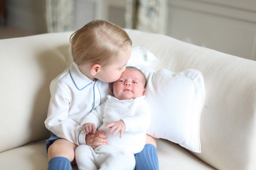 AMMER, ENGLAND - MAY 2015: In this undated handout image released by the Duke and Duchess of Cambridge, Prince George and Princess Charlotte at Anmer Hall in mid-May in Norfolk, England. (Photo by HRH The Duchess of Cambridge via Getty Images)