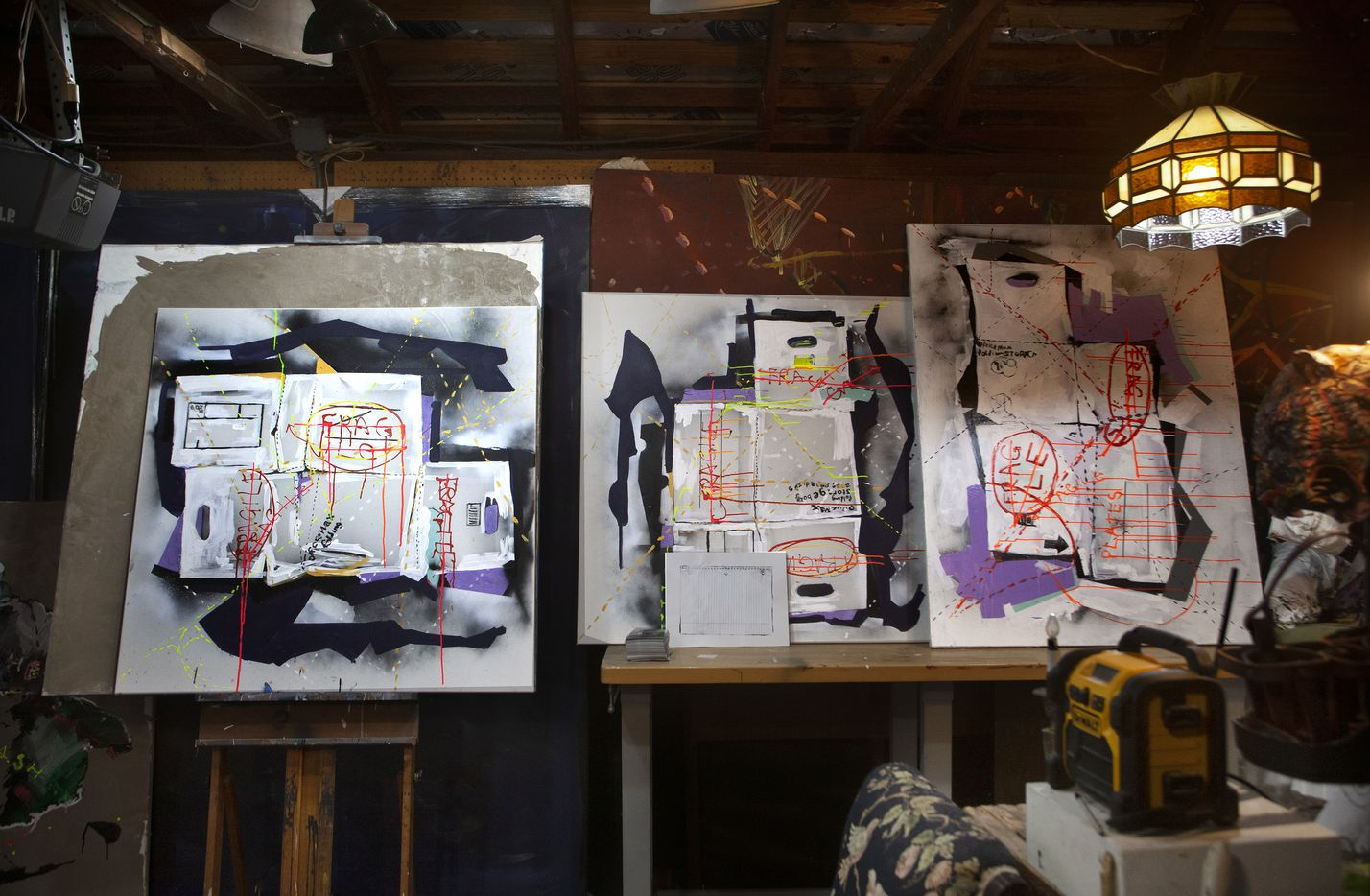 Nic Mathis' works are inspired by his life as a skater, electrician, husband and father. Here's a detail from his studio.
