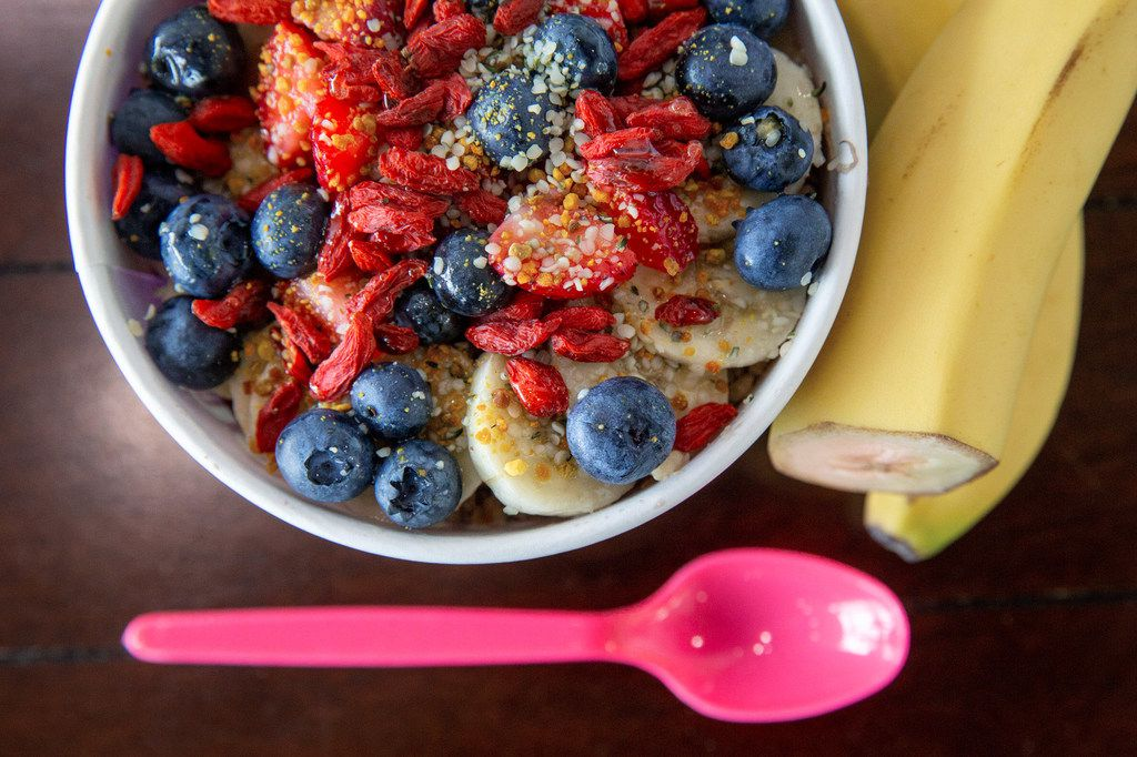 The Heavenly Acai bowl is photographed at the Heavenly Acai location in Frisco, Texas, on Monday, Aug. 5, 2019. This is the most popular bowl at the establishment, and the base features organic acai, almond butter, cacao, strawberries, banana and housemade cashew milk. (Lynda M. Gonzalez/The Dallas Morning News)