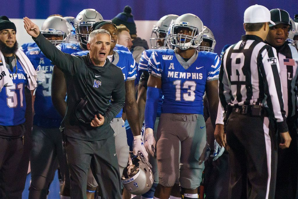 Memphis head coach Mike Norvell argues for a call during the second half of an NCAA football game against SMU at Liberty Bowl Memorial Stadium on Saturday, Nov. 2, 2019, in Memphis, Tenn. (Smiley N. Pool/The Dallas Morning News)