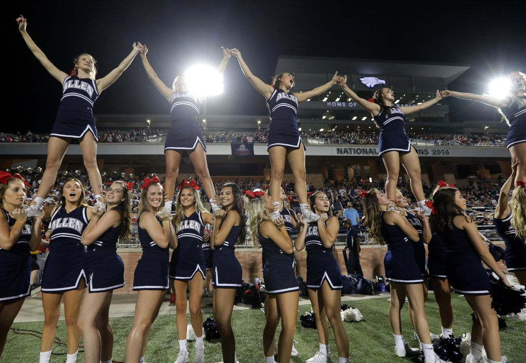 The Allen High School cheerleaders celebrate a win over Coppell High School at Eagle Stadium in Allen, TX, on Sep. 15, 2017. (Jason Janik/Special Contributor)