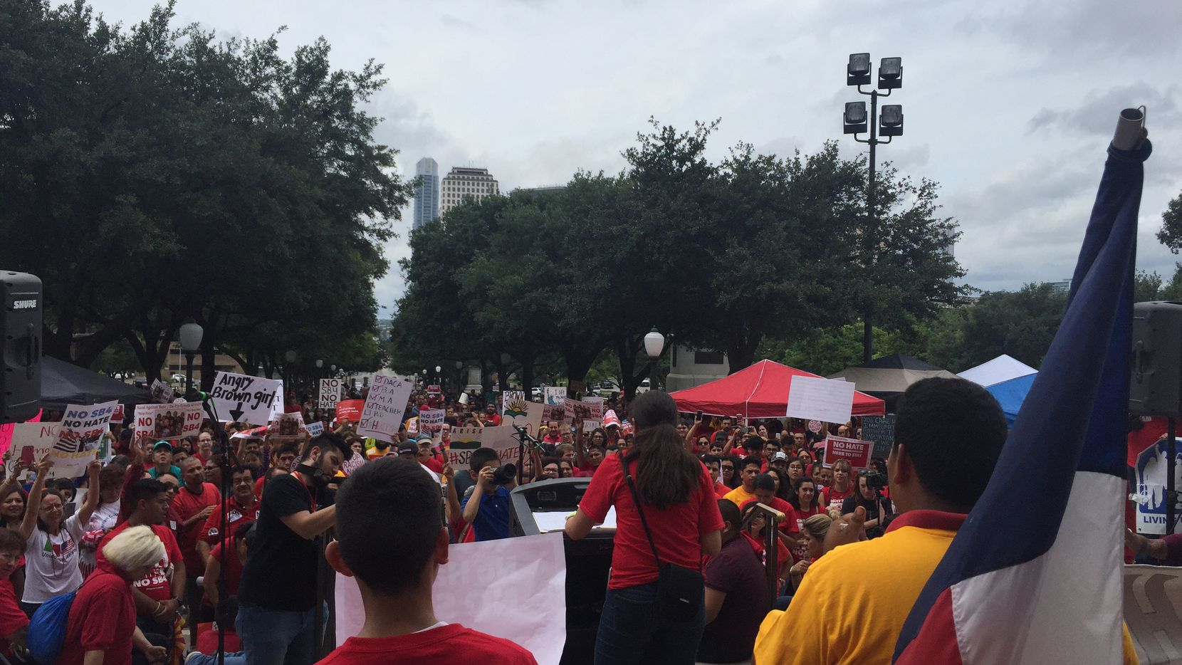 Hundreds of people descended upon the Texas Capitol to protest the state's newly signed sanctuary cities ban.