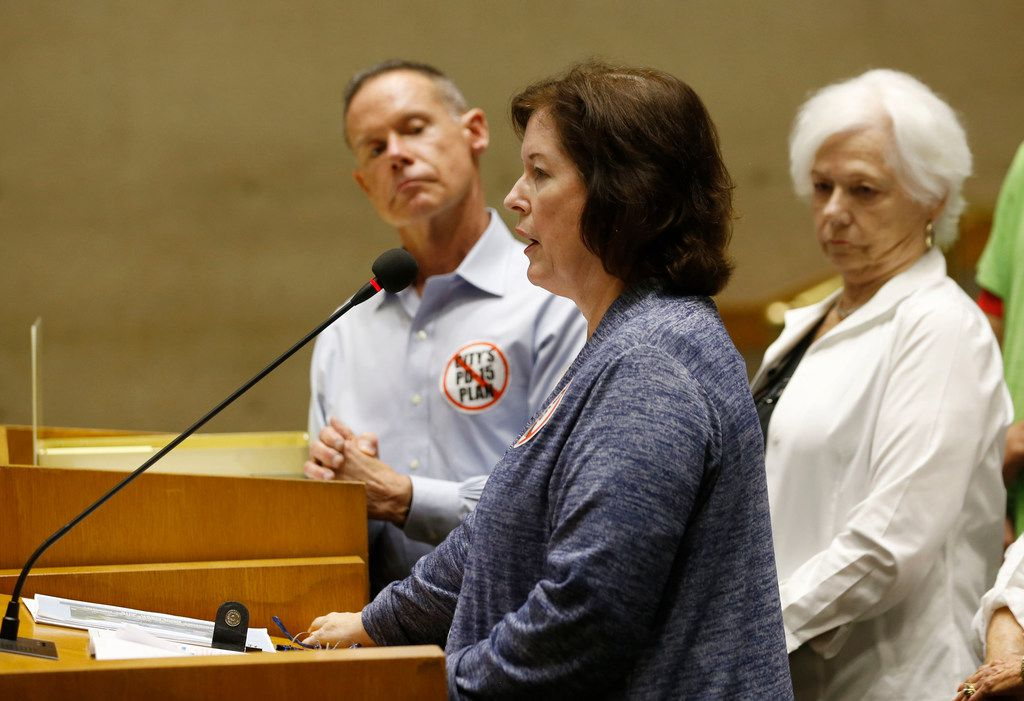 Carla Percival-Young was among the C.A.R.D. members speaking in opposition to the PD-15 redo on April 17. To her left is Bill Kritzer, the nascent organization's president.