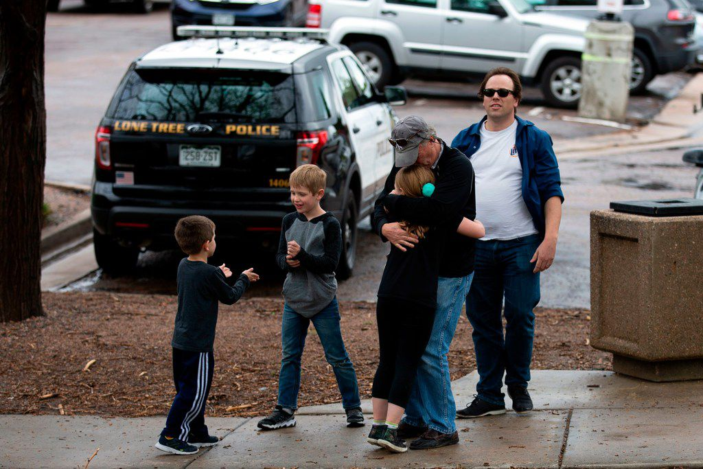 Students are evacuated from the Recreation Center at Northridge in Highlands Ranch after a shooting at the STEM School Highlands Ranch on May 7, 2019.