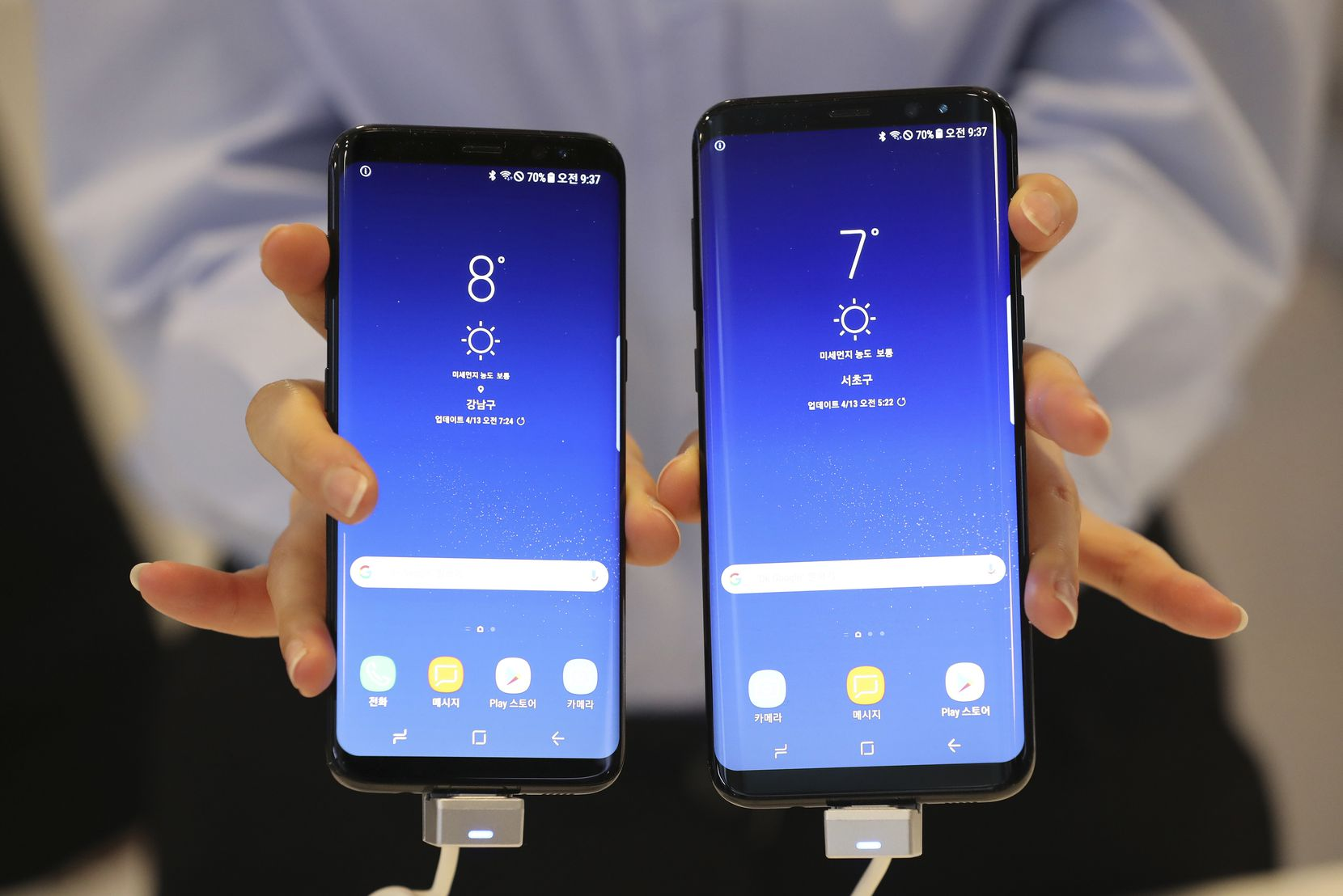 Samsung Electronics' Galaxy S8 and S8+ smartphones are shown off during a media day in Seoul, South Korea, Thursday, April 13, 2017.