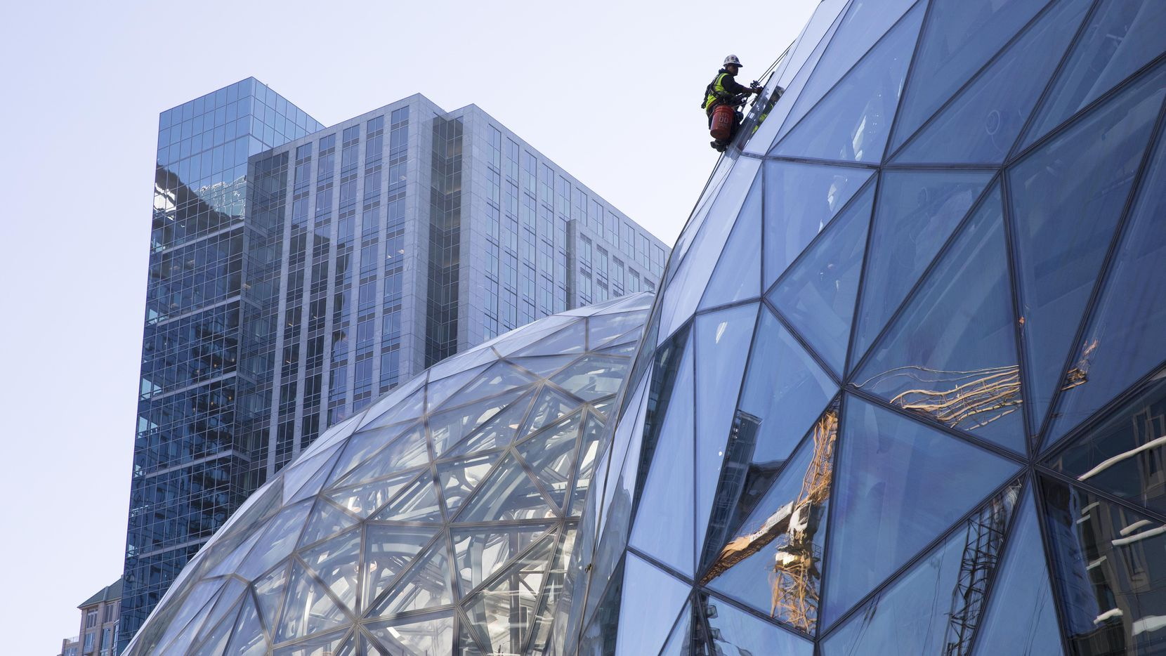 Large spheres in front of Amazon's building in Seattle. , Amazon said in October it had received proposals from 238 cities and regions across North America that are vying for its new, second headquarters, called HQ2.
