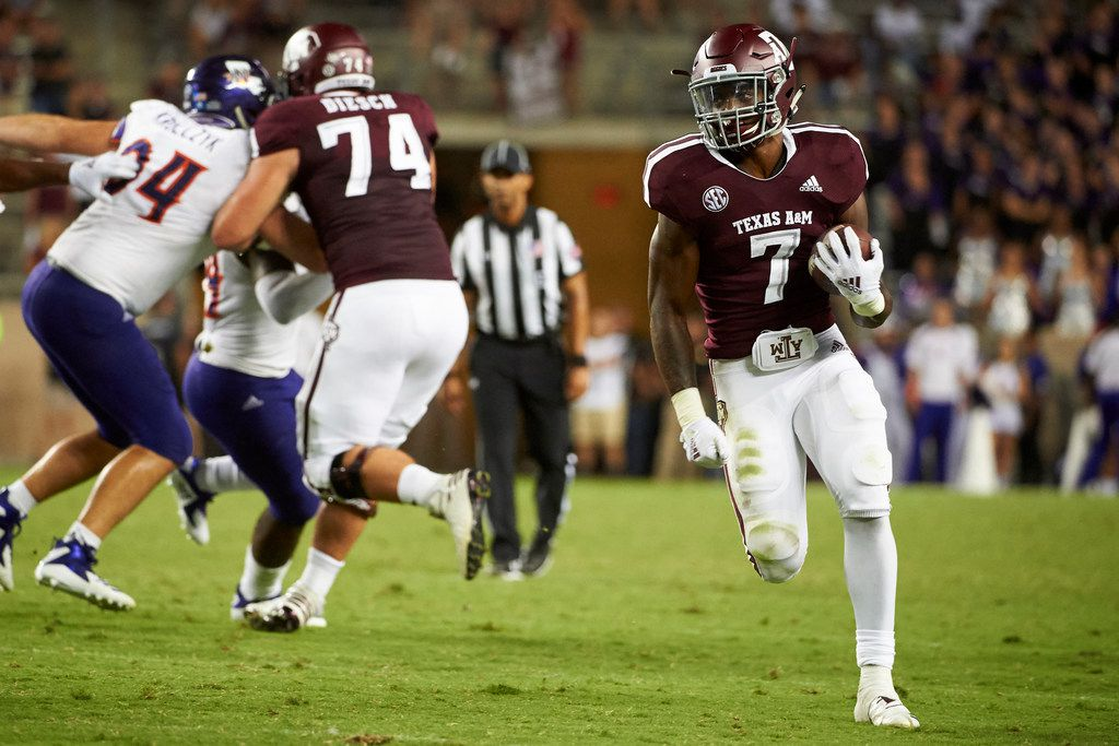 COLLEGE STATION, TX - AUGUST 30:  Jashaun Corbin #7 of the Texas A&M Aggies breaks free against the Northwestern State Demons during the second half of a football game at Kyle Field on August 30, 2018 in College Station, Texas.  (Photo by Cooper Neill/Getty Images)