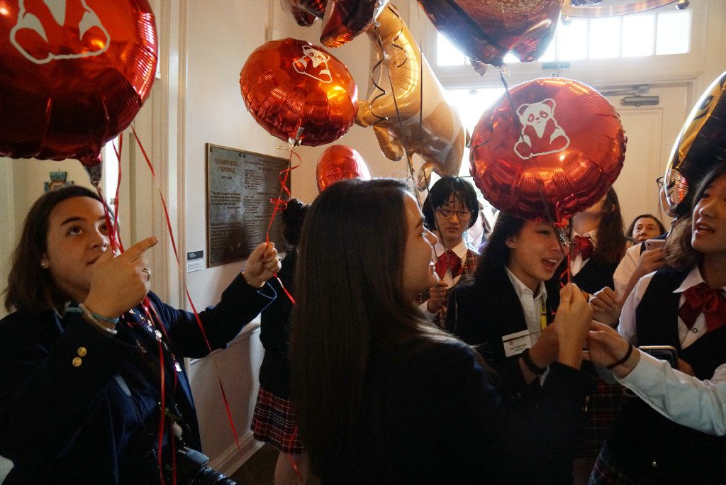 Ursuline Academy is celebrating its partnership with Xuaxia School in China with a parade of balloons and several other activities at the school in Dallas, Texas on Thursday, October 6, 2016. The relationship between the schools is twenty years old. (Lawrence Jenkins/Special Contributor)