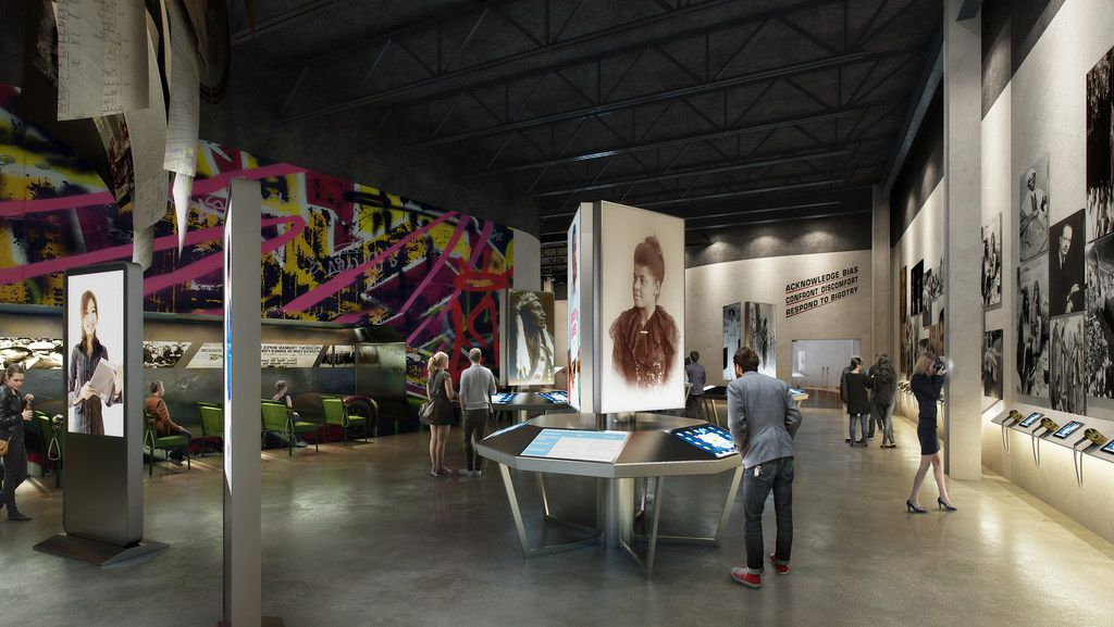 A conceptual rendering of an exhibit area in the future new Dallas Holocaust and Human Rights Museum.