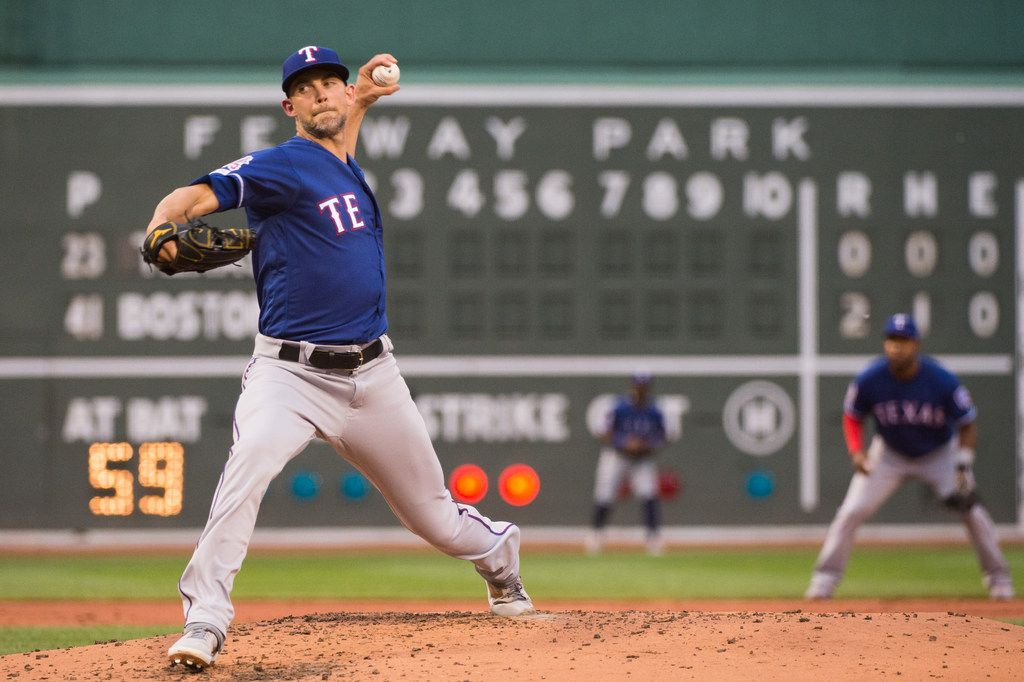BOSTON, MA - JUNE 10: Mike Minor #23 of the Texas Rangers pitches against the Boston Red Sox in the second inning at Fenway Park on June 10, 2019 in Boston, Massachusetts. (Photo by Kathryn Riley /Getty Images)