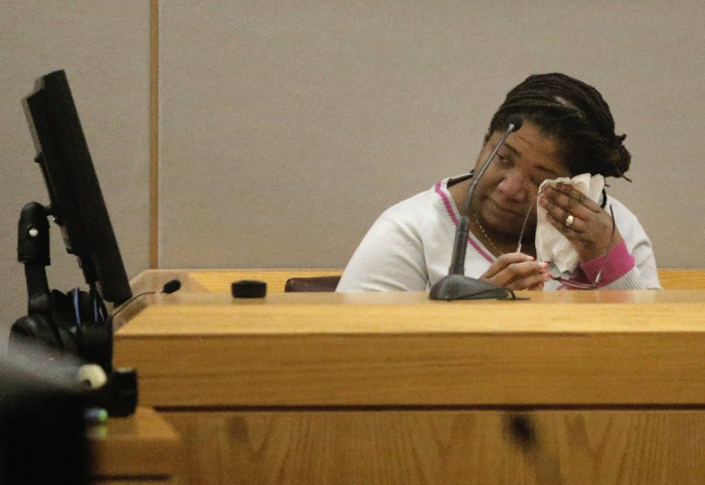 Jerry Brown's mother, Stacey Jackson, cried as she testified during the sentencing portion of former Dallas Cowboys player Josh Brent's intoxication manslaughter trial in January 2014.